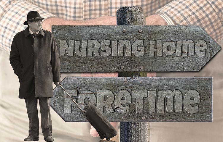 Old man doing to a nursing home